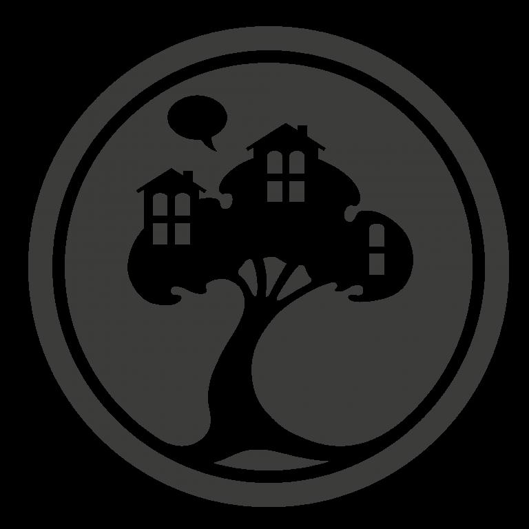 Logo: Baumhaus in schwarzem Kreis
